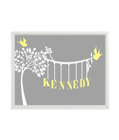 Would be a great gift! - Personalized Nursery Wall Art Print - Name Tree Birds Silhouette Gray Yellow White Baby Girl Children Kid Girl Room Home Decor     Print (Frame