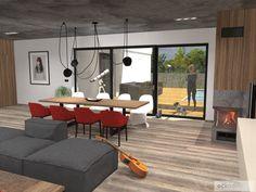 Z obývacího pokoje je výhled na terasu s bazénem a do zahrady