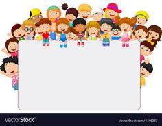 Crowd children cartoon with blank sign. Illustration of Crowd children cartoon w , Portfolio Kindergarten, Teaching Portfolio, School Border, Diy And Crafts, Crafts For Kids, Powerpoint Background Design, Blank Sign, Blank Banner, Kids Background