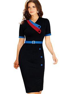 Babyonline Women's Summer Elegant Zipper Cotton Wear to Work Party Bodycon Dress Black