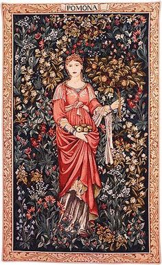 The Pomona tapestry was designed by William Morris (1834 - 1896) and Edward Burne-Jones (1833 - 1898) in 1885. It depicts Pomona, the goddess of fruits and harvests.