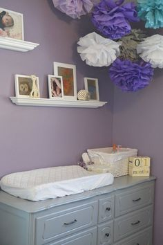 grey and purple nursery | Little Miss A's Purple, Grey and Teal Nursery