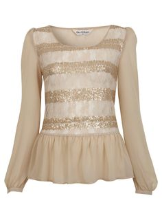 {beige sequin and lace top - miss selfridge}