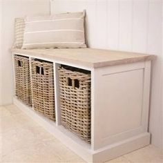 3 Basket Storage Bench Perfect For The Kitchen By Your Table Or Breakfast Nook Its