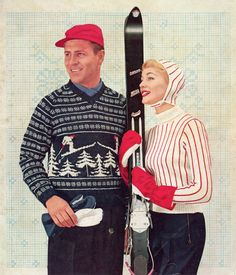 His & Hers Vintage 50s Ski Sweaters  Vintage by nostalgiarules