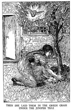 The Juniper-Tree - Black and White Illustration by Louis Rhead from 'Grimm's Fairy Tales – Stories and Tales of Elves, Goblins and Fairies – with Louis Rhead Illustrations' originally published in 1917