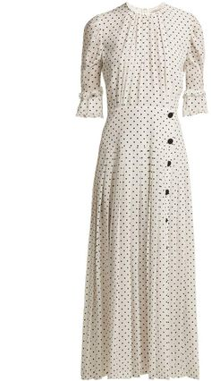 Shop for Polka Dot Print Pleated Silk Dress - Womens - White Black by Alessandra Rich at ShopStyle. Dress Outfits, Cute Outfits, Maxi Dresses, Modest Fashion, Fashion Dresses, Vintage Inspired Dresses, Fashion Room, Polka Dot Print, Silk Crepe