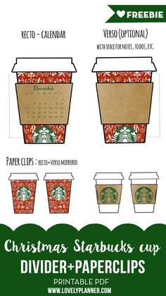FREE Printable Christmas Starbucks Cup Planner Calendar divider and paperclips to decorate your planner. {subscription required}