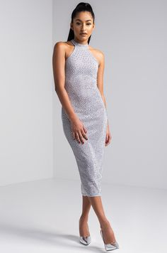 AKIRA Mock Neck Sheer Sleeveless Studded Glitter Midi Dress in Silver 646a4b804d74