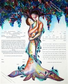 The Love Tree Ketubah by Anna Abramzon  In Judaism, The Tree of Life is a mystical symbol used in Kabbalah to describe the path to HaShem. Inspired by this concept, the artist depicted a couple in love, their bodies blending into one, intertwined with the strong, elegant tree -- a symbol of their relationship, their connection, their love and passion for each other and the journey on which they are setting forth together. $199 www.AAketubah.com #Jewish #wedding