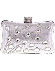 ERGEOB® Damen Clutch mit Glas Diamante Kristall Abendtasche für Party Hochzeit Theater Kino Lila/ Schwarz/ Rot/ Silber/ Golden/ Rosa/ Blau