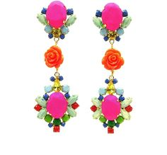 These colourful statement earrings are hand-made with meticulous attention to detail. The bigger stones are covered in hand-dyed silk, the rhinestones are hand-painted in beautiful pastels, adorned with coral flowers and dipped in gold.  #statement #earrings #crystals #handpainted  #silk #jolita #jolitajewellery #handmade #gold #luxury