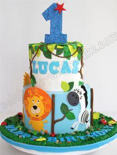Celebrate with Cake! Boys 1st Birthday Cake, Animal Birthday Cakes, Safari Birthday Party, 1st Boy Birthday, First Birthday Parties, First Birthdays, Birthday Ideas, Jungle Theme Cakes, Cake Pictures