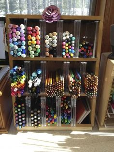 Marker storage from a Repurpose Video Tape holder by TTB - Cards and Paper Crafts at Splitcoaststampers