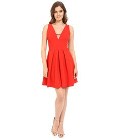 Adelyn Rae V Front Fit & Flare Dress Red - 6pm.com
