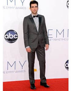 Zachary Quinto can always be counted on to bring a modern twist to traditional black tie, and clocks in another winner, with this gray tux with a cool tonal dress shirt.