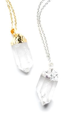 """QUARTZ POINT NECKLACE  $36.00        A crystal clear quartz point, dipped in gleaming silver or gold, celebrates the beauty of natural minerals.   - 18"""" gold or silver plated chain   - Spring ring closure   - Pendant measures approximately 1.25"""" long"""