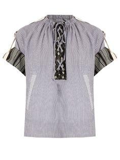 J.W.Anderson Lace-up striped cotton-gauze top