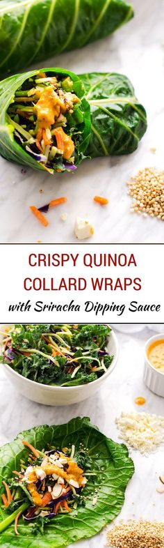 Crispy Quinoa Collard Wraps with Sriracha Dipping Sauce - These easy to make quinoa wraps make a perfect healthy lunch!  #EatSmartVeggies #ad