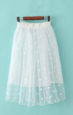 Polka Dot Mesh Bust Skirt