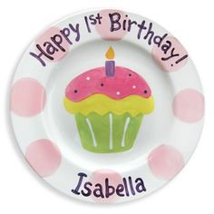 @rosenberryrooms is offering $20 OFF your purchase! Share the news and save!  1st Birthday Cupcake Personalized Plate - Girl #rosenberryrooms