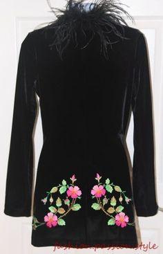 Betsey Johnson Size S Black Velvet Floral Embroidered Feather Trim Jacket