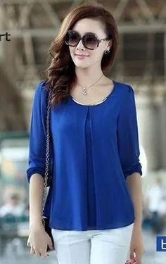 Cheap blouses wholesale, Buy Quality blouse cotton directly from China blouse shirt Suppliers: New 2014 Spring Summer Women Blouse Ladies Casual Loose Long Sleeve Chiffon Shirt Plus Size XXL XXXL Tops Blouses F Casual Tops For Women, Blouses For Women, Cheap Blouses, Chiffon Shirt, Pleated Shirt, Mode Hijab, Women's Summer Fashion, Street Chic, Casual Chic