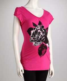 Take a look at this Oh! Mamma Fuchsia Rose Tie-Back Maternity Top by Oh! Mamma on #zulily today!