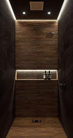 Don't let a small bathroom stand in the way of your dream bathroom . Don't let a small bathroom stand in the way of your dream bathroom . Hotel Bathroom Design, Modern Bathroom Design, Toilet And Bathroom Design, Modern Luxury Bathroom, Washroom Design, Toilet Design, Shower Lighting, Bathroom Lighting, Hallway Lighting
