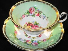 EB Foley England Rose Lime Green Delicate Tea Cup and Saucer