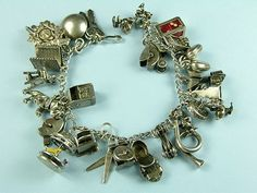 Charm Bracelets of Vintage Sterling Silver, from many years, charm has been involving many styles and ways different and reproduced by others, silver charm for women is available in various styles, design, signs, every time. which has its own meanings, many times ladies like design of bracelets having designs of animals and pets etc,.  birds and bees, many ladies who like sports and they may be known as sports women they like designs of sports tools, these t