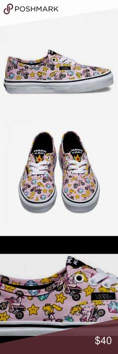 """NIB Vans Mario Bros. Princess Peach Shoes Vans presents exclusive graphic prints using 8 bit inspired artwork with characters from Super Mario Bros., Duck Hunt, Donkey King & Legend of Zelda. """"GAME OVER"""" printed on waffle soles.  GC/ Vans Shoes Sneakers"""