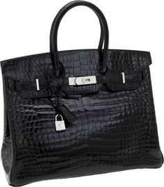 Hermès - Extraordinary Collection  -35cm Diamond, Shiny Black Porosus Crocodile Birkin Bag with 18K White Gold Hardware - Photo Heritage Auctions