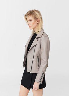 Zipped biker jacket -  Woman | MANGO United Kingdom