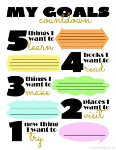 Goals Countdown Printable Freebie. Great for new years or anytime you want to set some new goals. I want to use it this summer with the kids.