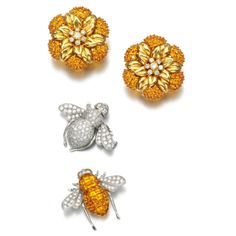 Pair of yellow sapphire and diamond earrings and pair of brooches, Sabbadini   Lot   Sotheby's