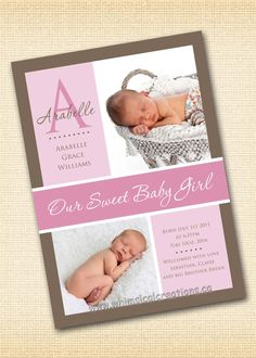 joselin baby girl birth announcement by announcingyou on etsy