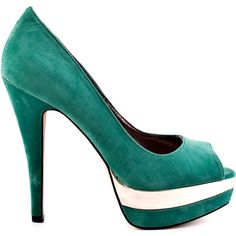 JustFab Women's Renee - Aqua ($45) ❤ liked on Polyvore featuring shoes, pumps, heels, green, high heel shoes, peep-toe pumps, peep toe shoes, aqua shoes y green peep toe pumps