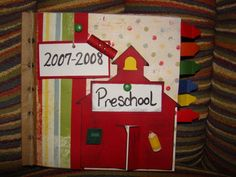 Paper lunch bag scrapbook.  I made this scrapbook for my daughter's preschool pictures. I went to a scrapbook store to cut out all the cutouts you see...including the crayon tags. For instructions on how to put together look at my other pins for paper lunch bag scrapbooks. I will tie ribbon to each hole  on this scrapbook  but I have not bought the ribbon yet to do so.