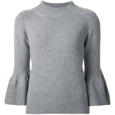 Carolina Herrera bell sleeve jumper ($1,885) ❤ liked on Polyvore featuring tops, sweaters, shirts, grey, bell sleeve shirt, gray sweaters, 3/4 sleeve shirts, form fitting shirts and 3/4 length sleeve shirts