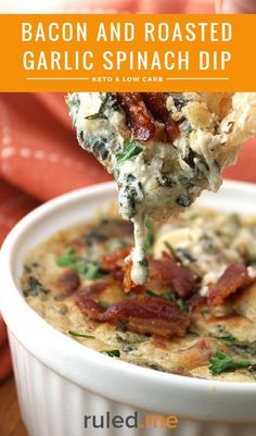A keto bacon and roasted garlic spinach dip recipe. #ketodiet #ketorecipes #ketogenicdiet