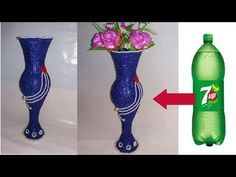 Plastic Bottles And Their Creative Applications - Best Craft Projects Plastic Vase, Reuse Plastic Bottles, Plastic Bottle Flowers, Plastic Bottle Crafts, Fun Crafts, Diy And Crafts, Altered Bottles, Bottle Vase, Recycled Crafts