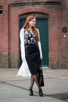 Outfit | Midi Times Two | Vero Moda blouse, Zara faux leather midi pencil skirt, Vila long white cardigan, Van Haren patent brogues, Forever 21 earrings and Vlieger & Vandam bag | More on www.redsonjafashion.com