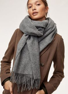 The classic wool scarf Woven with pure wool, the Classic has a soft, plush feel and a wide shape — wear it as a shawl or looped around your neck. Wool Scarf, Cashmere Scarf, How To Wear Scarves, Big Scarves, Scarfs, Vintage Fashion 1950s, Vintage Hats, Victorian Fashion, Outfits With Converse