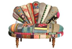 nuLOOM Penelope Chair - Another one where I hate the upholstery but love the shape. Moroccan Furniture, Funky Furniture, Painted Furniture, Furniture Design, Take A Seat, Love Seat, Patchwork Chair, Textiles, Discount Rugs