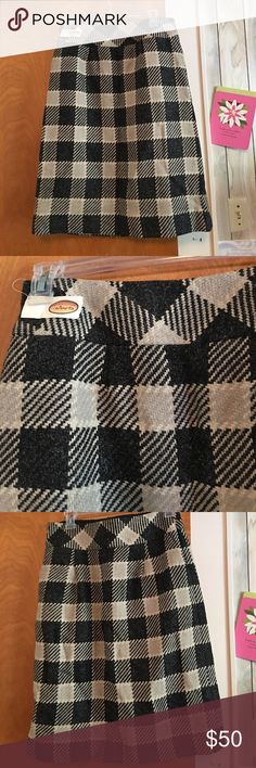 NWT Talbots's plaid skirt!! Beautiful!!! Beautiful black and Cream plaid wool skirt from Talbots's!! Fully lined!!! Never worn only tried on!! Talbots Skirts Midi