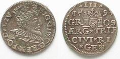 1593 Riga RIGA 3 Groschen (Trojak) 1593 GE SIGISMUND III of POLAND silver VF-XF! # 95136 VF-EF