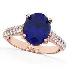 Oval Blue Sapphire & Diamond Engagement Ring 14k Rose Gold (4.42ct), Women's, Size: 4.75