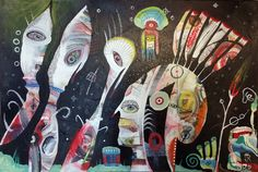Outsider Art Painting: Visitors by bugatha1