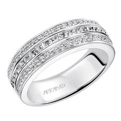 ArtCarved -Contemporary anniversary band with three rows of princess cut- channel set diamonds in the center and round-prong set diamonds on the top and bottom.  33-V9100W
